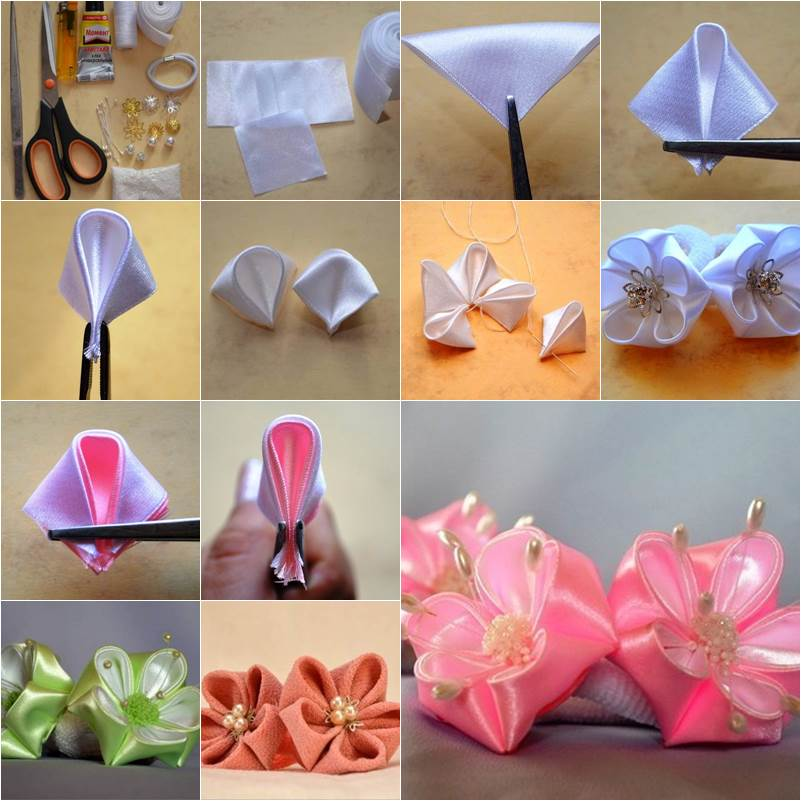 ribbon flowers Archives   i Creative Ideas How to DIY Round Petals Ribbon Flower