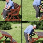 Creative Ideas Diy Folding Bench And Picnic Table Combo