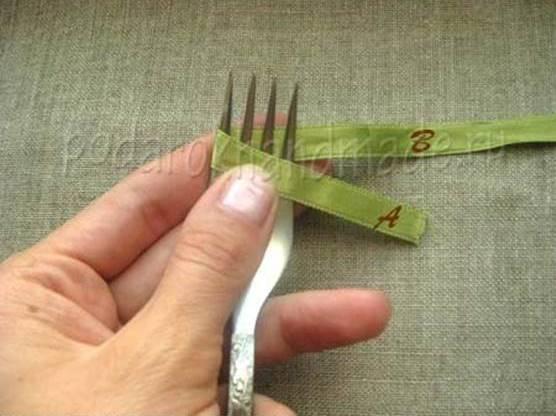 Idéias criativas - DIY cetim fita arco com uma forquilha 1