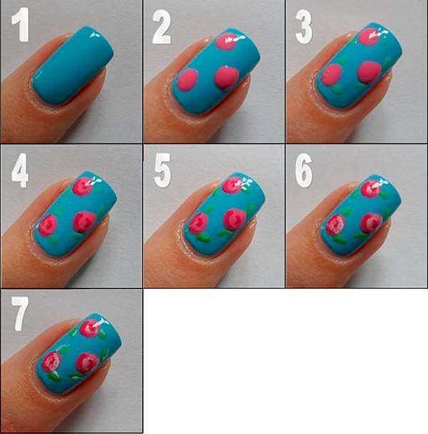 White Tip And Flowers Design Nail Art For Short Nails