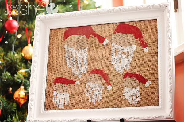40+ Creative Handprint and Footprint Crafts for Christmas --> A Family of Hand Print Santas