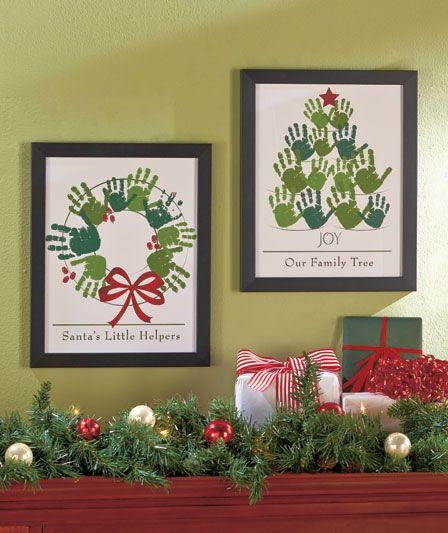40+ Creative Handprint and Footprint Crafts for Christmas --> Holiday Handprint Wall Art