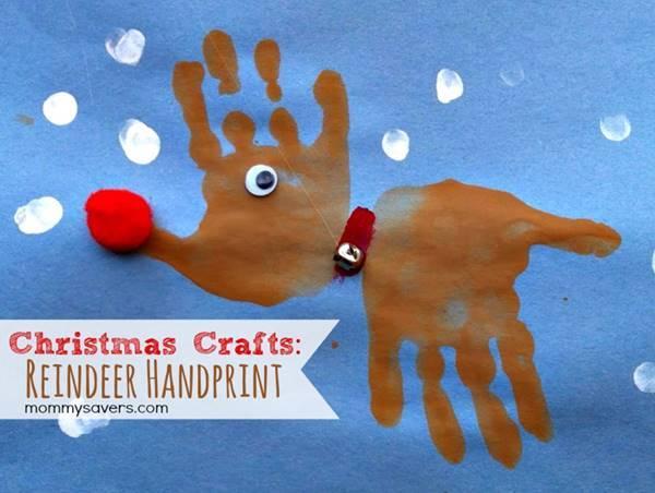 40+ Creative Handprint and Footprint Crafts for Christmas --> Christmas Handprint Reindeer