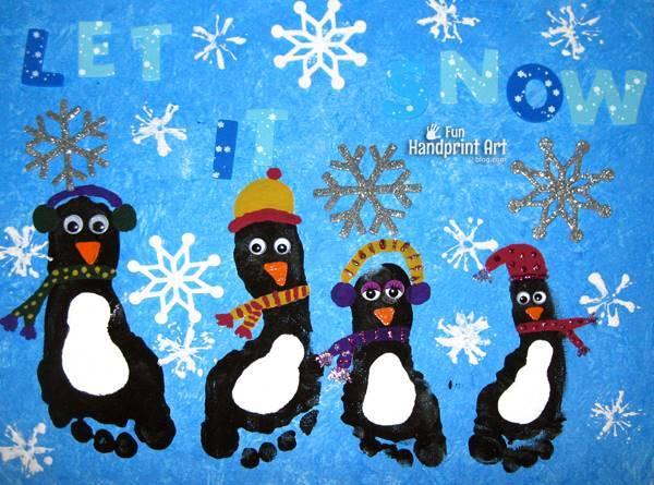 40+ Creative Handprint and Footprint Crafts for Christmas --> Footprint Penguin Canvas Keepsake
