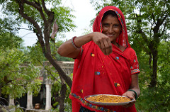 Prem Devi of Padasoli Village, Rajasthan, India grows pigeonpea and cooks it daily into high-protein dal and uses the stalks as firewood