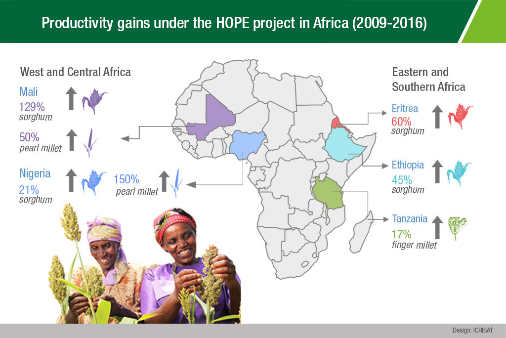 Productivity gains under the HOPE project in Africa (2009-2016)