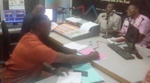 Clockwise from left: Coal City FM Radio Enugu studio anchorman, Mr Romanus Egba, Dr Hakeem Ajeigbe, and Mr George Opara from FMARD Abuja during the radio talk show. Photo: ICRISAT