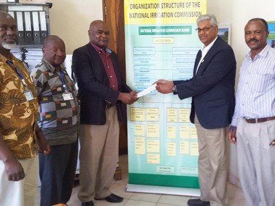 (L-R) Eng Paschal Shayo, Eng Eliakim Chitutu, Eng Seth P Luswema, Dr Chandra Madramootoo and Mr Peter Ngowi. Photo: P Okori