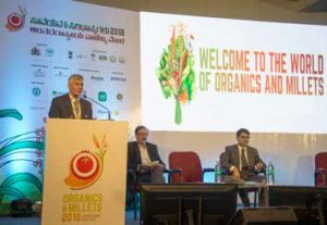 Dr David Bergvinson, Director General, ICRISAT highlighted millets as climate-smart crops to ensure nutritional security and incomes for resource-poor farmers.