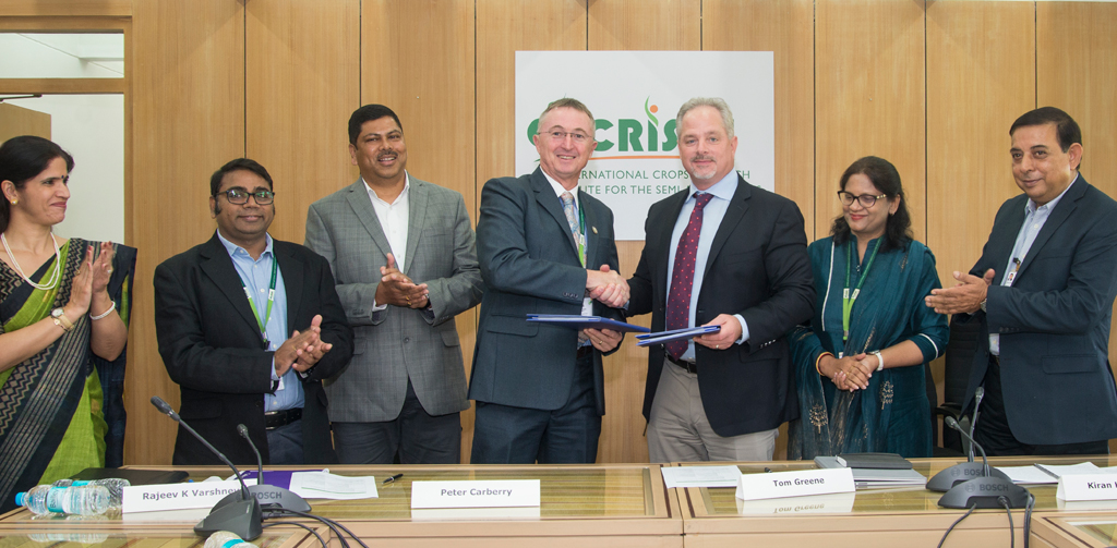 Peter Carberry, Director General (Acting), ICRISAT, and Tom Greene, Senior Research Director, Corteva Agriscience, Agriculture Division of DowDuPont, today signed an agreement for a multiyear partnership to strengthen food security by improving crops through sharing of high-tech and modern breeding technologies. Also In the image Amitabh Mohanty, Purnima Sahni-Mohanty, KK Sharam, Pooja Bhatnagar-Mathur, Kiran Sharma, Rajeev Varshney.