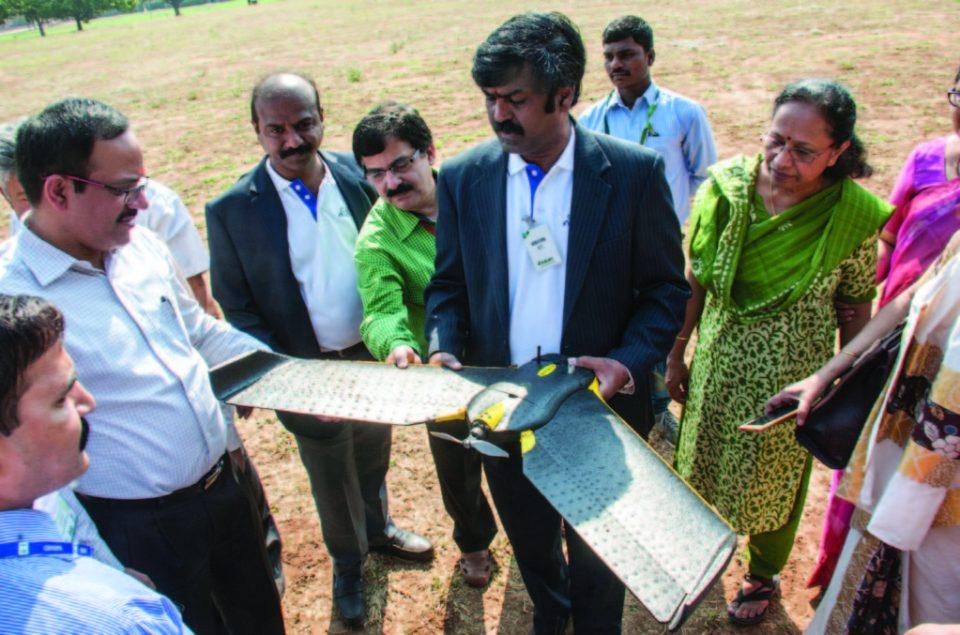 Vinod Kumar Samanthul, Director, Aegis, demonstrates a drone. Photo: PS Rao, ICRISAT