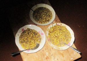 Plates of githeri served at a 'no-treatment' household demonstrates low legume:cereal ratio. Photo: Project participant