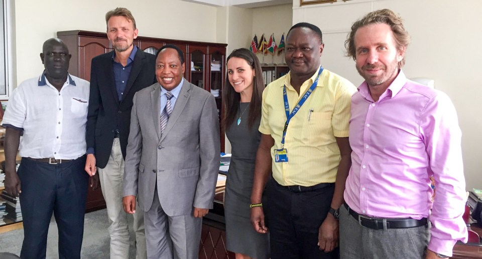 Dr Ali Said Matano, Commission Executive Secretary (third from left) with IIASA and ICRISAT staff.