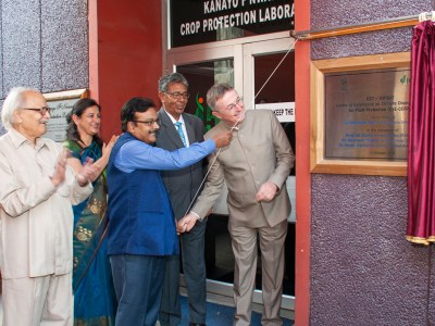 Dr. Akhilesh Gupta, Dr. Peter Carberry, Dr. Mangala Rai, Former Director General, ICAR (2nd right), and Prof. SK Dube, Chairman, DST CCP Expert Committee & former Director, IIT Kharagpur (5th right) launching the Center of Excellence on Climate Change Research for Plant Protection (CoE-CCRPP), supported by Department of Science and Technology (DST).