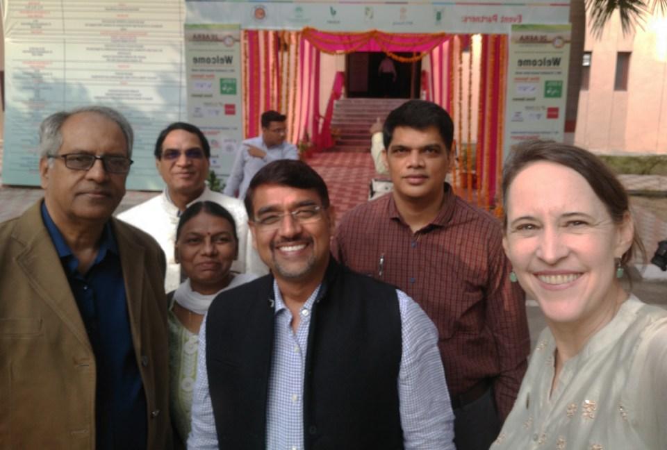 (L-R) Drs P Parthasarathy Rao, R Padmaja, Shalander Kumar, K Dakshina Murthy and Ms Joanna Kane-Potaka at the conference held in Karnal, Haryana. Photo: J Kane-Potaka, ICRISAT