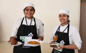 Participant chefs present their millet food preparations at the inaugural Smart Food challenge held in Bengaluru. Photo: PS Rao, ICRISAT