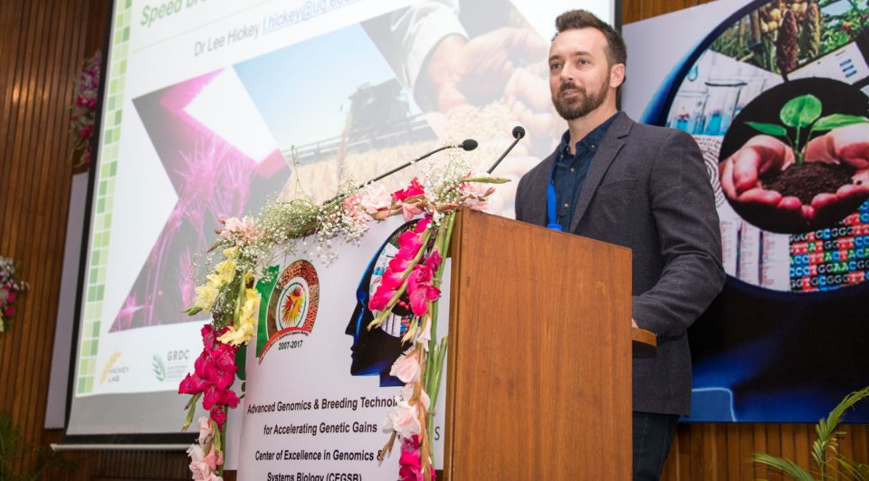 Dr Lee Hickey, University of Queensland, elaborating on Speed Breeding at the symposium. Photo: S Punna, ICRISAT