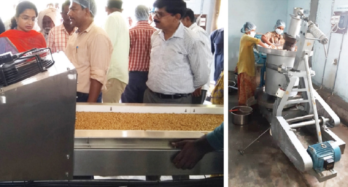 The groundnut processing plant set up by the Government of Telangana and ICRISAT's AIP. (Right) Women of MMS working at the facility. Photo: ICRISAT