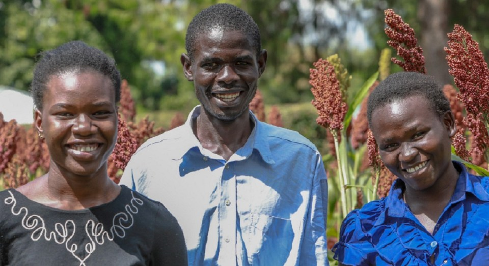 Ms Dorah Achieng, Mr Gabriel Odhiambo and Ms Beatrice Auma, members of Ayora Young Farmers Group in their farm in Kabarak village, Siaya County, Kenya. Photo: ICRISAT