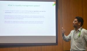 Mr Muzamil Baig, Quality Manager, Genebank describes quality management systems to the staff. Photo: Ajaykumar G, ICRISAT