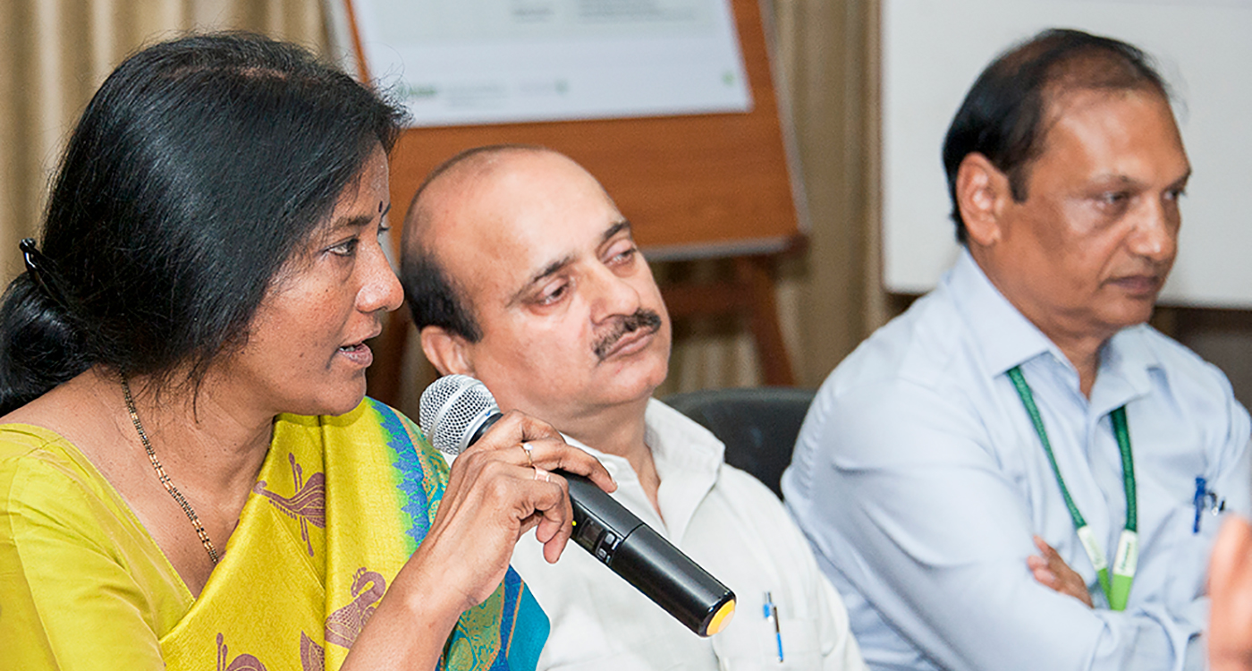 Dr C Tara Satyavathi, Project Coordinator, AICRP-Pearl Millet updates the participants on pearl millet hybrid developments at the meeting. Photo: PS Rao, ICRISAT