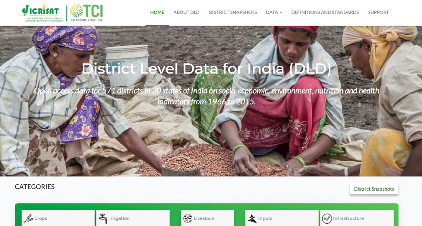 Screenshot of the District-Level Data web tool. Photo: S Nedumaran, ICRISAT