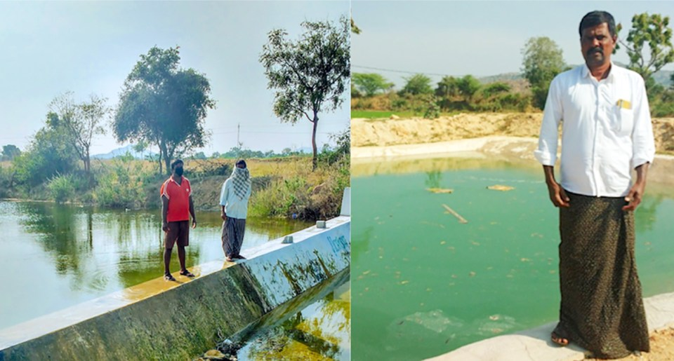 """Water conservation structures in Anantapuramu: A check dam (L) constructed in Kondampalle village, Anantapuramu, during 2017 has led to increase in groundwater levels that benefits a newly constructed pond (R) in Ramachandra Reddy's farm, providing sufficient water to irrigate a second crop. The check dam constructed in 2017 through the project has ensured that groundwater is available at a depth of 3 meters. Before the project, even water for drinking purposes was not available, and groundwater was available only at about 183 meters during the dry seasons,"""" he says. Photo: Arun Seshadri/ICRISAT"""