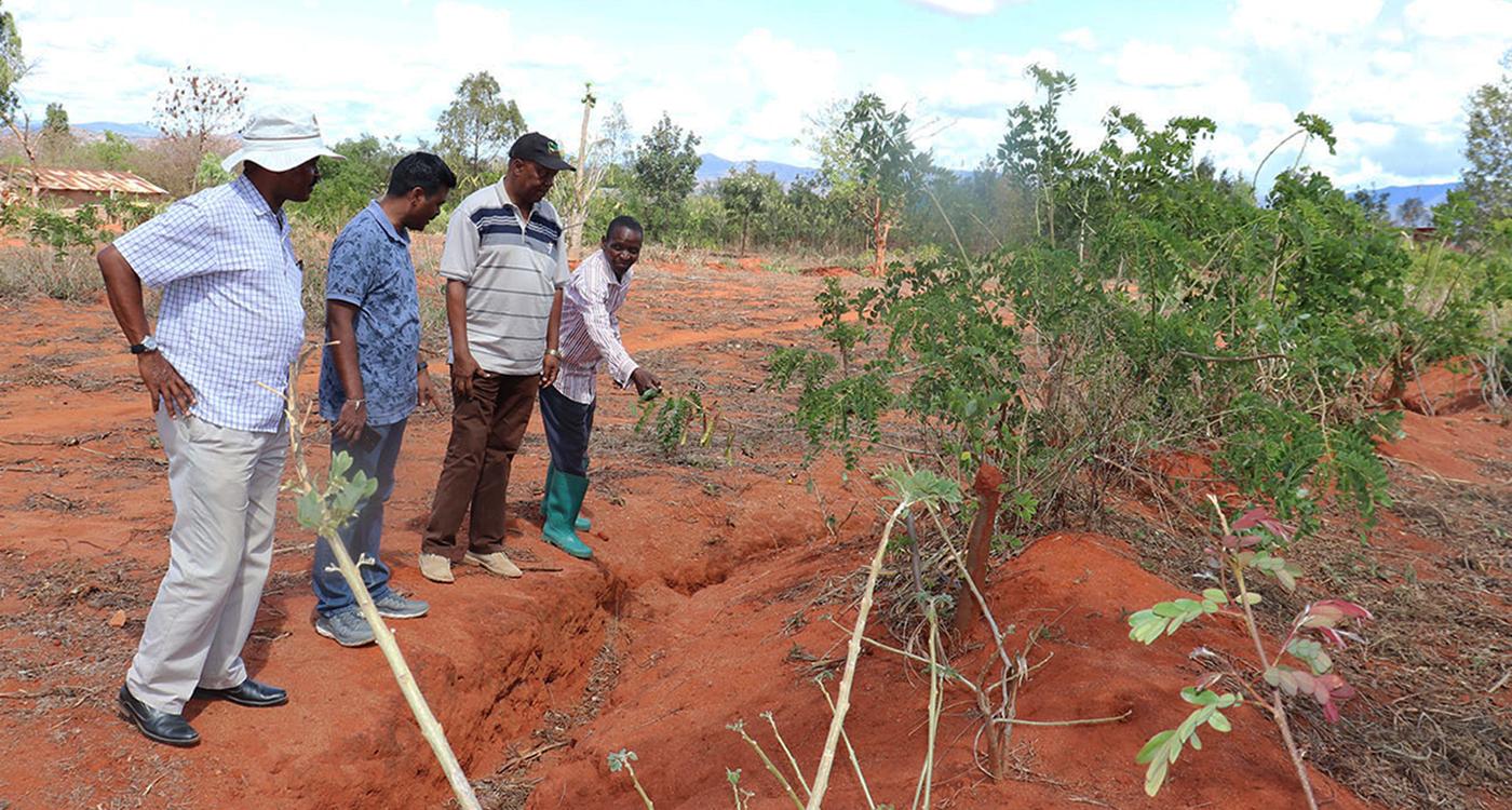 Dr Birhanu Zemadim Birhanu, Senior Scientist, Land and Water Management, ICRISAT; Dr Murali Krishna Gumma, Head, Remote Sensing and GIS, ICRISAT; Dr Elirehema Swai, Principal Agricultural Research Officer, TARI; and Moshe Maile, lead farmer at Mlali watershed, Dodoma, Tanzania. Photo: Z Birhanu, ICRISAT