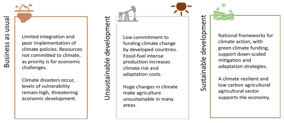 Figure 1. The essence of National Representative Agricultural Pathways (RAPs), policy assumptions and climate impacts.Figure 1. The essence of National Representative Agricultural Pathways (RAPs), policy assumptions and climate impacts.Figure 1. The essence of National Representative Agricultural Pathways (RAPs), policy assumptions and climate impacts.