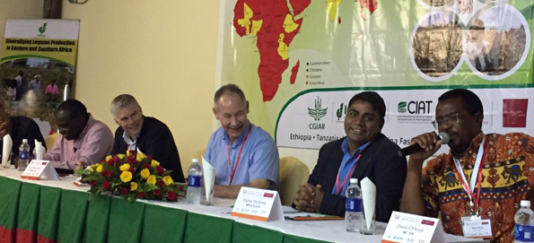 On the dais (L-R) Dr Robin Buruchara, Regional Director for Africa, CIAT; Dr Bergvinson; Dr Ehlers; Dr Rajeev Varshney, Research Program Director Genetic Gains, ICRISAT and David Chikoye, Director R4D and Country Representative Zambia, IITA. Photo: ICRISAT