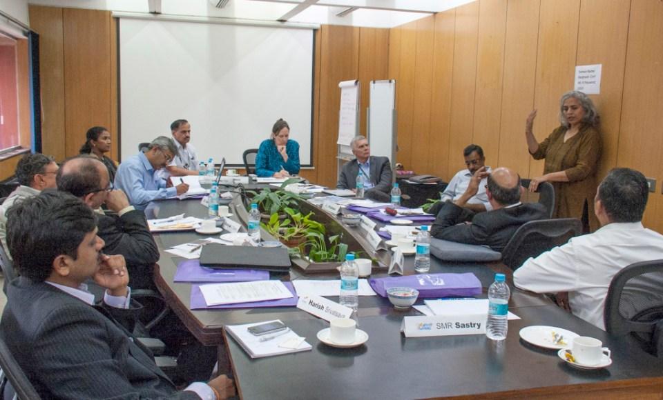 Participants included Mr L Prabhakar, ITC; Ms Meenakshi Sharma, SAB Miller; Mr Pratyush Panda, ACC Limited; Mr Rajendra Reddy, Asian Paints; Mr SMR Sastry, Hindustan Aeronautics Limited; Dr Harish Srivatsava, Ramky Foundation; Mr Sreeman Narayana Kadali, Super Gas Foundation; Mr Vinayak V Damle (Raju), Confederation of Indian Industry (CII); Mr Alok Verma, Hindustan Aeronautics Limited; Mr Mukund Gorakshkar, JSW Foundation; Ms Joanna Kane-Potaka, ICRISAT; Dr David Bergvinson, ICRISAT; Ms Lakshmi R Pillai, ICRISAT; Dr Suhas Wani, ICRISAT. Photo: PS Rao, ICRISAT