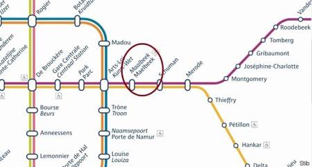 Map of Maelbeek Station, Brussels, Belgium