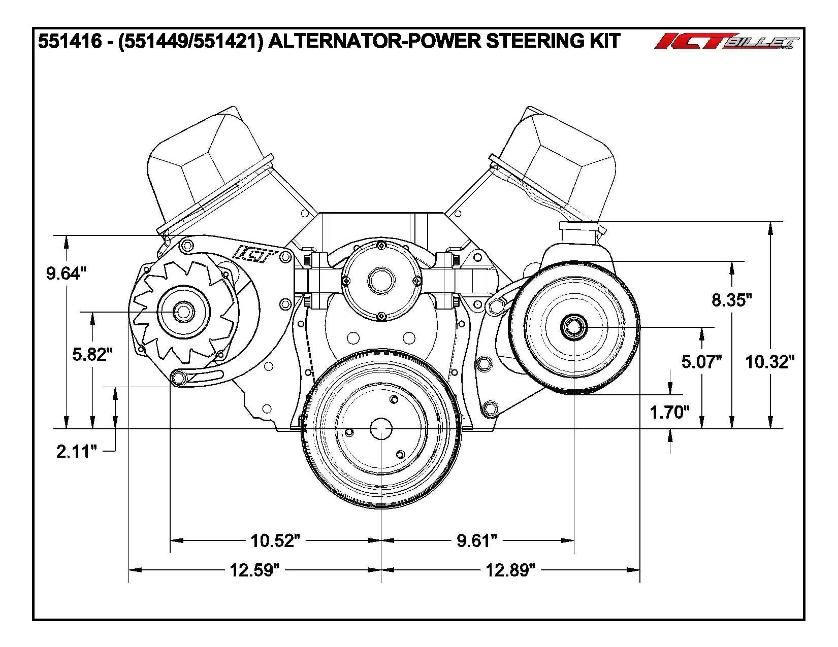 Bbc Alternator Amp Power Steering Pump Accessory Drive