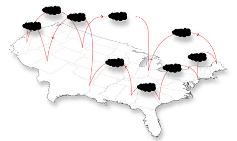 Artists rendition of a nation-wide cloud-based network.