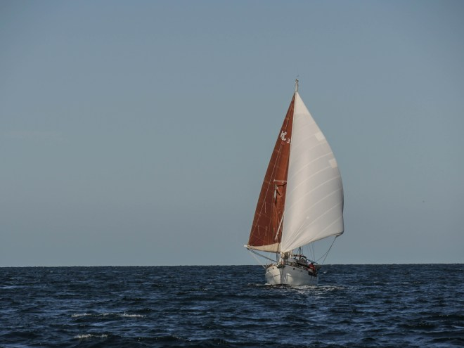 Prism underway wing on wing in the open sea, making their way to Topolobampo.