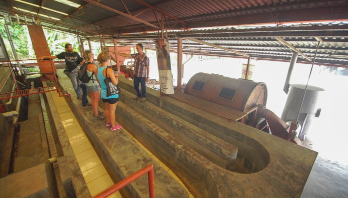 I take notes as Bruno shows us the winding watermill at Argovia.