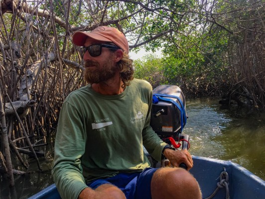 Josh navigates the mangroves in southern Mexico in our 9-foot dinghy.