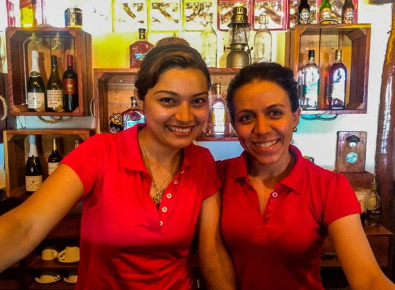 Lisseth and Lalesca, two local young women who now work in tourism at the tapas bar. Lalesca is studying to be a nurse.