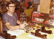 """Early 1980's """"Beldorn Blasters"""" on table, I am holding a """"Istar hand blaster"""" Also converted Star Wars toys."""