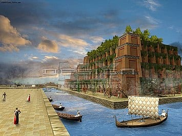 Illustration of the famous Hanging Garden of Babylon