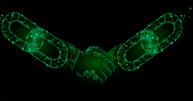 supply chain risk represented by a handshake overlaid with an image of a chain in green on a black background.