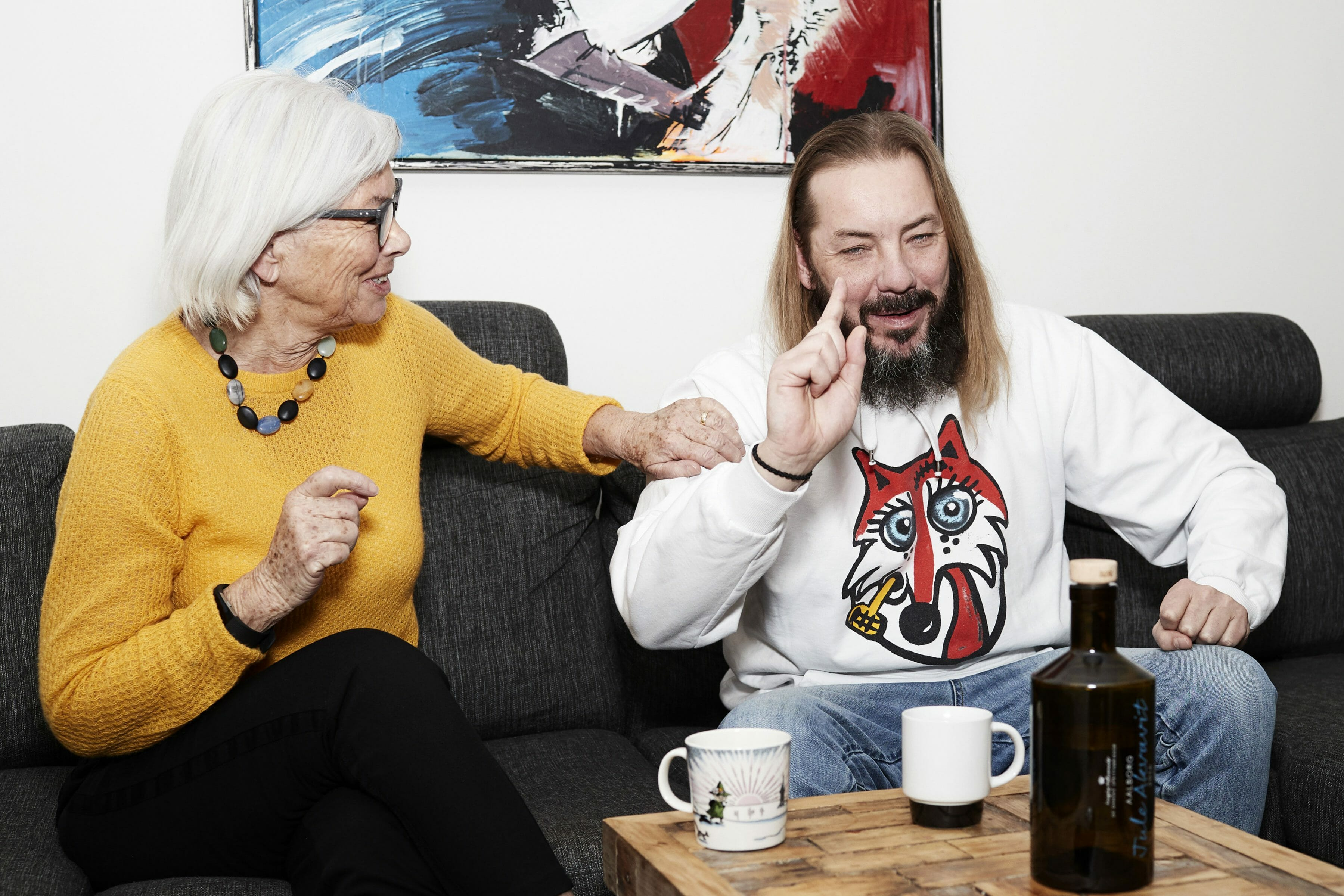 Editorial portrait of musician Jonny Hefty and his mother
