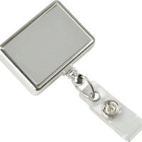 Rectangle Chrome Economy Badge Reel Swivel Clip
