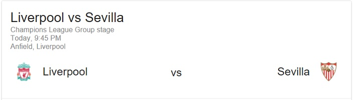 13 Eylül 2017 Liverpool - Sevilla Şampiyonlar Ligi Maçı