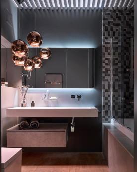 Detali Interior - Collezione Cubik abbinata a lampadario di Tom Dixon