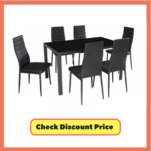 glass dining table sets 6, dining table set for 6, 6 seater dining table, round dining table for 6, black glass dining table