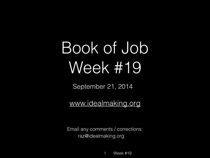 Book of Job, Raz, Week #19.001