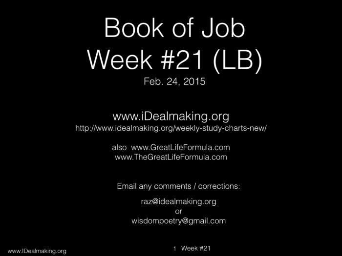 Book of Job, Week #21 LB.001