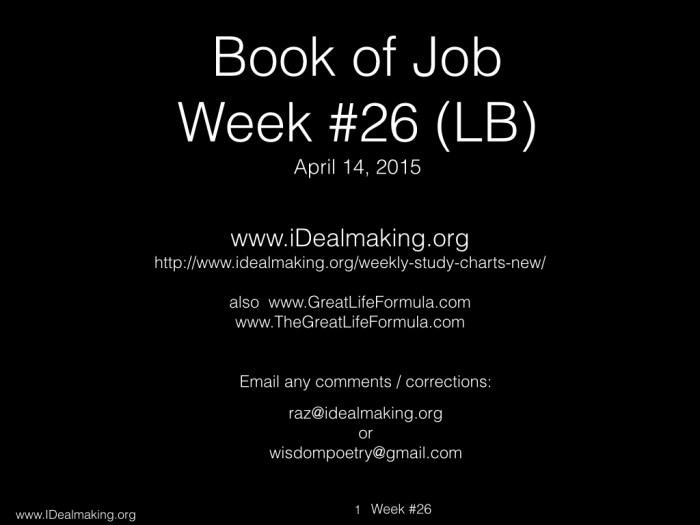 Book of Job, Week #26 LB.001