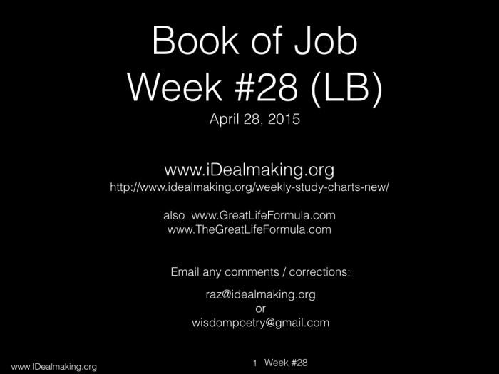 Book of Job, Week #28 LB.001